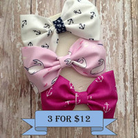 bow tie fabric hair bows set of three in preppy, nautical, anchor, and whale fabric rockabilly style