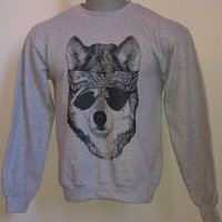 Biker Wolf w/ Sunglasses and Bandana Sweatshirt Athletic Grey M
