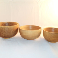 Set of three stacking bowls made out of ash by Parksandcrafts