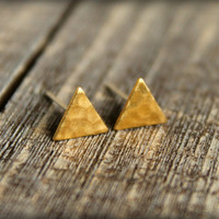 Hammered Triangle Earring Studs in Raw Brass, Surgical Steel Posts