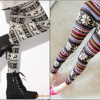 2012 Fashion Women Xmas Rabbit Knitting Snowflake Deer Warm Leggings Tights Pants Pick Color