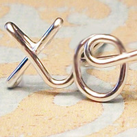 Cartilage Earring, xo &quot;hug &amp; kiss&quot; Earring, Sterling Silver or Gold Filled