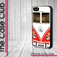 iPhone 4 Case - iPhone 4s Case - iPhone 4 cover  skin - VW Bus Red Mini bus  - FREE Shipping
