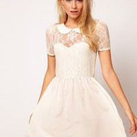 ASOS Lace Shirt Dress With Peterpan Collar at asos.com