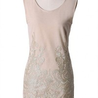 Crochet-Embroidered Sleeveless Dress in Nude - New Arrivals - Retro, Indie and Unique Fashion