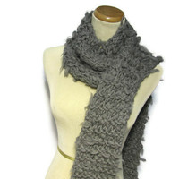 Grey Merino Wool Hand Knit Scarf