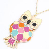 Wholesale Lovely Big Belly Owl Pendant Sweater Necklace from China