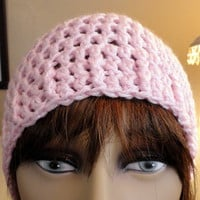 Pink Beanie Hat Pre Teen to Ladies Handmade Crocheted Ski Soft Warm