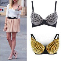 Women Sexy Metallic Gathers Punk Spike Studs Rivet Bra Bralet Clubwear B/ C CUP
