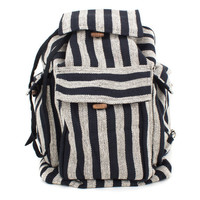 Unisex Cream and Black Stripe Duffle Cotton Rucksack