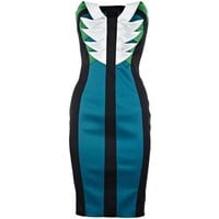 Signature Stretch Satin Dress Black and Green