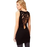 Bodycon Tunic With Sexy Lattice Back