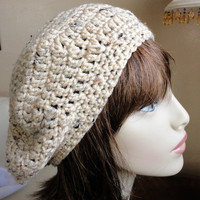 Oatmeal Slouch Hat Handmade Crocheted Soft Warm Neutral Girls Ladies