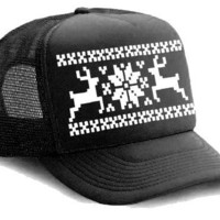 Black Reindeer X Mas Ugly Sweater  Mesh Trucker by ScuzzyTrucker