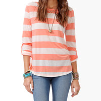 Striped Button Tab Top