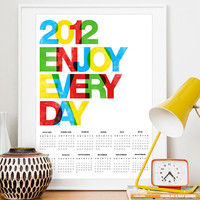 2012 Calendar Typography print Colorful inspirational art by handz