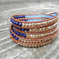 Beaded Leather 5 Wrap Bracelet with Blue Riverstone and Gold Czech Glass Beads on Saddle Leather