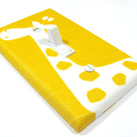 Giraffe Nursery Decor Light Switch Cover Bright Yellow SLUB Children Kids Wall Art Decoration Premier Prints Gisella 1079