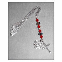 Book Lover Heart and Cross Red, Silver Charmed Bookmark