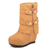 Yellow Belt buckle high-heeled snow boots  Solid Pop  style 070100101 in