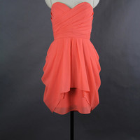 Coral Bridesmaid Dress 2013, A-line Sweetheart Mini Chiffon Bridesmaid Dress 2013