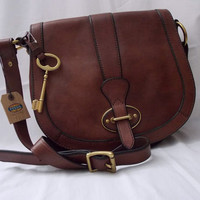 FOSSIL BRAND-VINTAGE RE-ISSUE-FLAP CROSS-BODY-BROWN LEATHER--FREE SHIP*******NWT