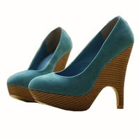 Simple Designer Blue Waterproof High Heel Shoes : Wholesaleclothing4u.com