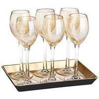 Product Details - Amber Crackle Cordial Stemware with Tray