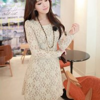 Stylish Hollow Out Long Sleeve Dresses Apricot : Wholesaleclothing4u.com