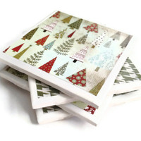 Ceramic Tile Coasters Set of Four Felt Backing Christmas Green