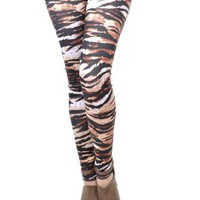 Anna-Kaci Free Size Black and Sepia Tone Tribal Tiger Print Ravenous Leggings