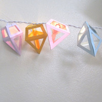 Pastel Diamond String Lights - Geometric Paper Jewels - 20 Party Bulbs