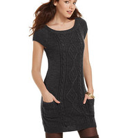 JJ Basics Juniors Dress, Cap Sleeves Sweater Pockets Cable Knit - Juniors Sweaters - Macy's