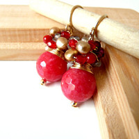 FREE shipping - The Caymee in red - elegant earrings with faceted red jade