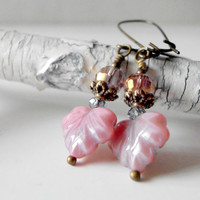 Beaded Earrings Pink Glass Bead Dangles Rustic Leaf Antiqued Bronze Vintage Style Beaded Jewelry Handmade
