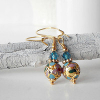 Beaded Earrings Colorful Cloisonne Bead Dangles Teal Swarovski Crystals Beaded Jewelry Handmade