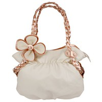 CANDICE Flower Beige / Copper Soft Leatherette Metallic Weaved Double Handle Shoulder Bag Satchel Ho