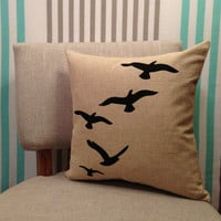 Linen Cushion Cover/Decorative Pillow Cover - Oatmeal - Black Birds