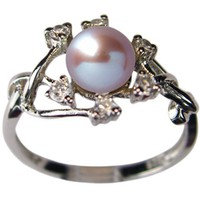 Entwining Vine Cultured Pearl Cubic Zirconia Ring in Platinum Overlay CAREFREE Sterling Silver, Lave