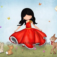 Art print poster for girls room happy illustration for by jolinne