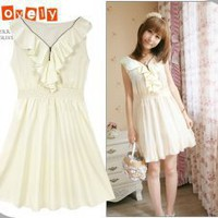 Korean Fashion Apricot Dresses Stays With Zipper Ruffle Collar