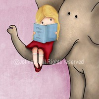 Elephant art children wall art books theme cute by jolinne