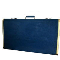 Vintage Blue Suitcase - Large Towncraft Luggage with Dark Blue Lining and Original Keys