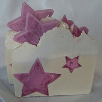 Rocking the Stars with Shea Butter, Cocoa Butter and Pure Silk Soap Slice / cold process soap Ready Dec 20th