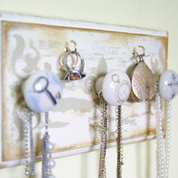 Necklace Hanger, Jewelry Display, Rustic, Distressed, Antiqued, Cottage Chic