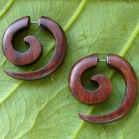 Tribal organic wooden earrings fake gauges WOOD faux plugs tapers ORGANICS Sold AS PAIR 316L Surgica