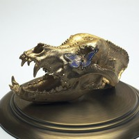 Gold Leaf PitBull Dog Skull with Feather Butterfly by stixandjones