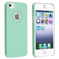 eForCity Snap-on Case Compatible with Apple iPhone 5, Mint Green Sweet Heart: Cell Phones &amp; Access
