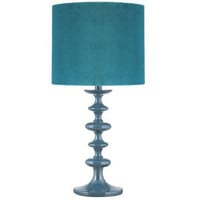 Heal&#x27;s | Teal Turned Wood Table Lamp with Velvet Shade &gt; Table Lamps