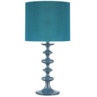 Heal's | Teal Turned Wood Table Lamp with Velvet Shade > Table Lamps